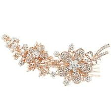 Bridesmaid Bridal Wedding Rose Gold Austrian Crystal Flower Hair Comb Headpiece