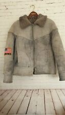 Asko Gorge Pilot Aviator Flying Sheepskin Jacket U.S.A. Men's Grey Size in Descr