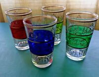 4 Ornate Bar Glasses 4 Oz Wine Whisky Liquor Green Red Purple Gold Trim MINT