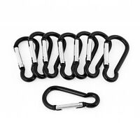Outdoor Hiking Black DTring Clip Lock Carabiner Hook 8 Pcs AD