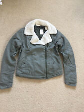 NWT Hollister Womens Malaga Beach Sherpa Collar Jacket Coat Olive Size Small