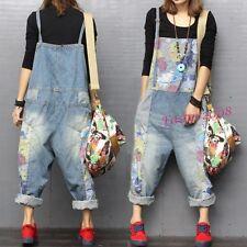 New Women's Denim Overalls Loose Casual Suspender Trousers Romper Jeans Oversize