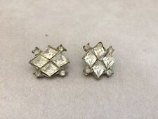 Lot Pair 2 Vtg Paste Rhinestone Clear Glass Costume Jewelry Shank Buttons 2cm