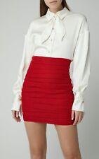 NWT Magda Butrym Fajardo Red Layered Linen High Waisted Mini Skirt 34 US 2 $1220