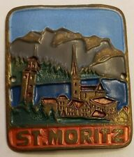 Vintage, St. Moritz, Switzerland Walking Stick Stocknagel, Medallion, NOS 064