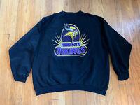 Minnesota Vikings Vintage 90's Logo 7 Black Graphic Crewneck Mens 3XL EUC Rare