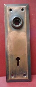 ANTIQUE EARLY 1900's COPPER FLASHED DOOR KNOB BACK PLATES #2