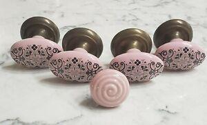 Vintage Embellished Pink Porcelain & Brass Drawer Pulls Cabinet Knob Set of 5