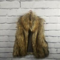 BB Dakota Womens Size Medium Faux Fur Vest Brown Black Lined