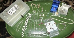 STERLING SILVER LOT - 31 GOOD PIECES + Some Scrap - NECKLACES , EARRINGS  - NICE