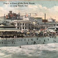 Long Beach Ca Beach In Front Of The Bath House Postcard 1920 Ocean Amusement