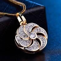 "18k Multi-Tone Gold Filled Stunning Swarovski Crystal Long Pendant Necklace 18"""
