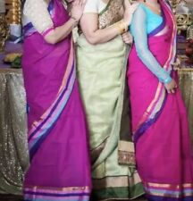 indian wedding dress Sari cotton purple