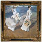 Sorolla Strolling along the Seashore 1909 Wood Framed Canvas Print Repro 19x19