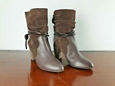 Brand New Next Leather Ankle Boots High Heels Size uk 6 eu 39 £70 Brown Cowboy