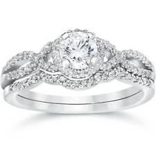 3/4ct Diamante Anillo de compromiso de boda de Infinito Set 14K Oro Blanco