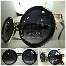Mens or Women CLASSIC VINTAGE Style SUN GLASSES Round Black & Gold Fashion Frame