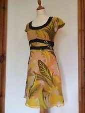 Karen Millen Vestido Floral Hoja de seda, con cuentas, lentejuelas libélula. Talla 10 EU 38