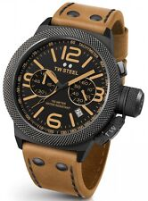 TW Steel Canteen Mens Black 50mm Chronograph Watch Brown Leather Strap CS44