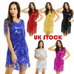 UK Women's V Neck Sequins Latin Dance Dress Latin Tango Performance Dancewear