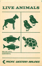 LIVE ANIMALS - Scarce PACIFIC WESTERN AIRLINES (CANADA) Luggage Label / Decal