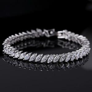 European Style Eye Shape Diamond Cut White Topaz Gems Silver Bracelets