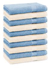 Betz 10 Toallas de cara 30x30cm PREMIUM 100% algodón en beige y azul claro