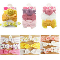 3Pcs Baby Girls Bow knot Elastic Headband Turban Toddler Kids Hair Band Headwrap