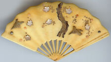 ANTIQUE JAPANESE SHIBAYAMA INLAID MOTHER OF PEARL FLOWERS AND BIRDS FAN PIN