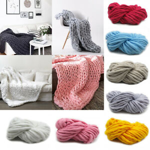 Home Soft Large Chunky Knitted Thick Blanket Throw Sofa Blanket Hand Yarn Woolen