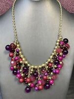 Vintage  Pink Purple Beaded Chunky  Dangle Charm Statement Jewelry Necklace 20