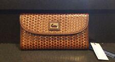 NWT Dooney & Bourke Chestnut Brown Camden Woven Continental Clutch Wallet