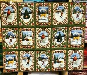 """New Hand Quilted """"Scenes of Winter"""" Lap Blanket"""