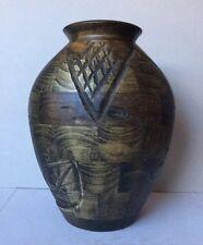 Green/Brown Decor Morden Art Crafted Patchwork Wooden Leaf &Diamond Carved Vase