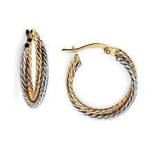 9ct White & Yellow Gold Twist Rope Hoop Earrings