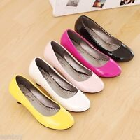 Women's Round Toes Shoes Synthetic Leather Kitten Med Heels Pumps AU Size S044