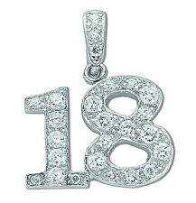 18th Birthday Pendant Solid Sterling Silver Necklace and Chain Rhodium Plated
