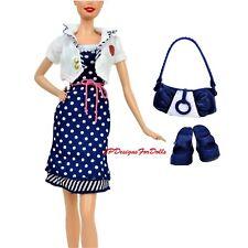 Barbie Moda Traje de Vestido Azul y Blanco Dotty Chaqueta Blanca Zapatos Bolsa ninguna muñeca