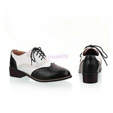 Womens Flats Oxfords Wing Tips Brogues Lace Up Shoes Vintage Leather Pumps Sizes