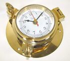 """Victory RM621NA Porthole Style Polished Brass Clock 3-1/2"""" Dial 135-586"""