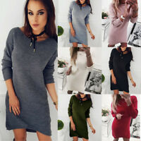 Autumn Fashion Women Solid O-Neck Sweater Long Casual Long Sleeve Pullove Dress