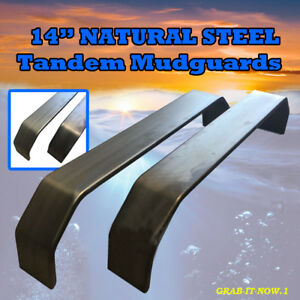 "Mudguards Tandem 14""  -  Natural Steel (Pair) - Trailers"