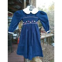 Will'Beth Blue Floral Smocked Dress Holiday Lined Lace Sash Peter Pan Size 5