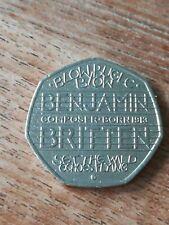 2013 Benjamin Britten 50p coin - circulated.