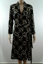 Banana Republic Faux Wrap Dress Womens Size Large Long Sleeve Black Silk Blend