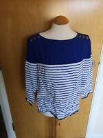 Ladies ZARA Top Size L 12 14 Blue White Stripe Smart Casual Day