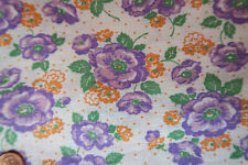 ONE VINTAGE FEEDSACK LAVENDER PURPLE ORANGE FLOWERS  DOTS  37x44  PRISTINE!