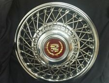 """NEW! NOS GM FWD CADILLAC 14"""" WIRE WHEEL HUBCAPS WITH GOLD / MAROON CENTER CAP"""