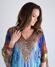 Kaftan dress, embellished Viscose Georgette blue/green print gorgeous kaftan!