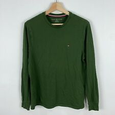 Tommy Hilfiger Mens Shirt XS Extra Small Green Long Sleeve Round Neck Fitted